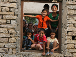 Nepal children in window